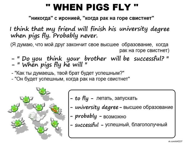 Идиома when pigs fly